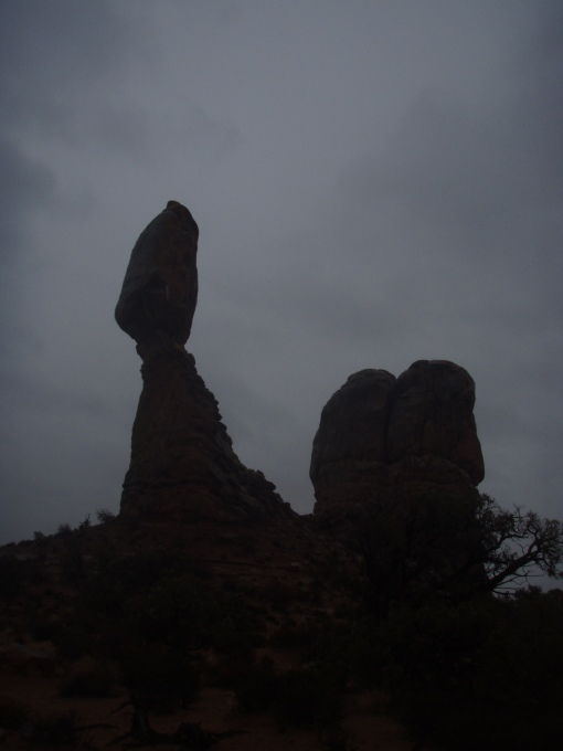 An unusually dimly lit Balanced Rock