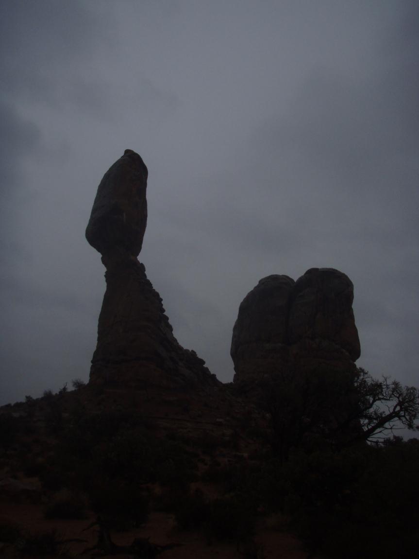 An unusually dimly lit Balanced Rock