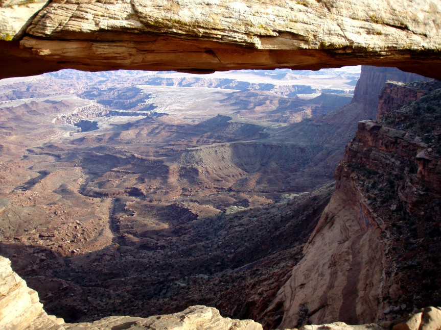Looking through Mesa Arch