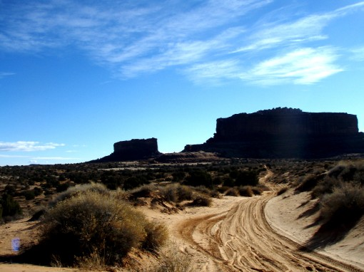 This sandy trail leads to the battling buttes--Monitor and Merrimac