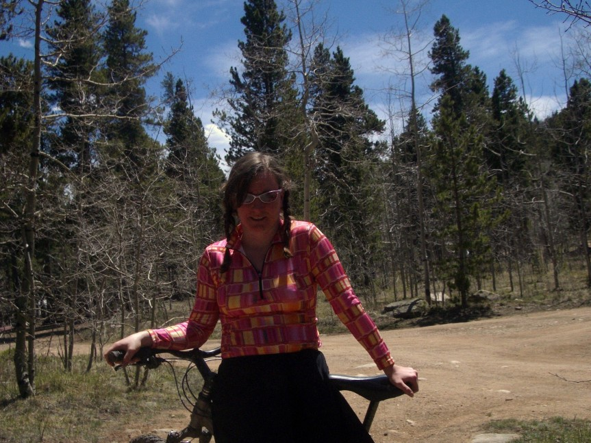 SheSpoke sports pigtails at the start of the epic Kenosha Pass ride