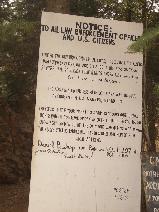 Constitutional Rights guaranteed at Bishop's Castle