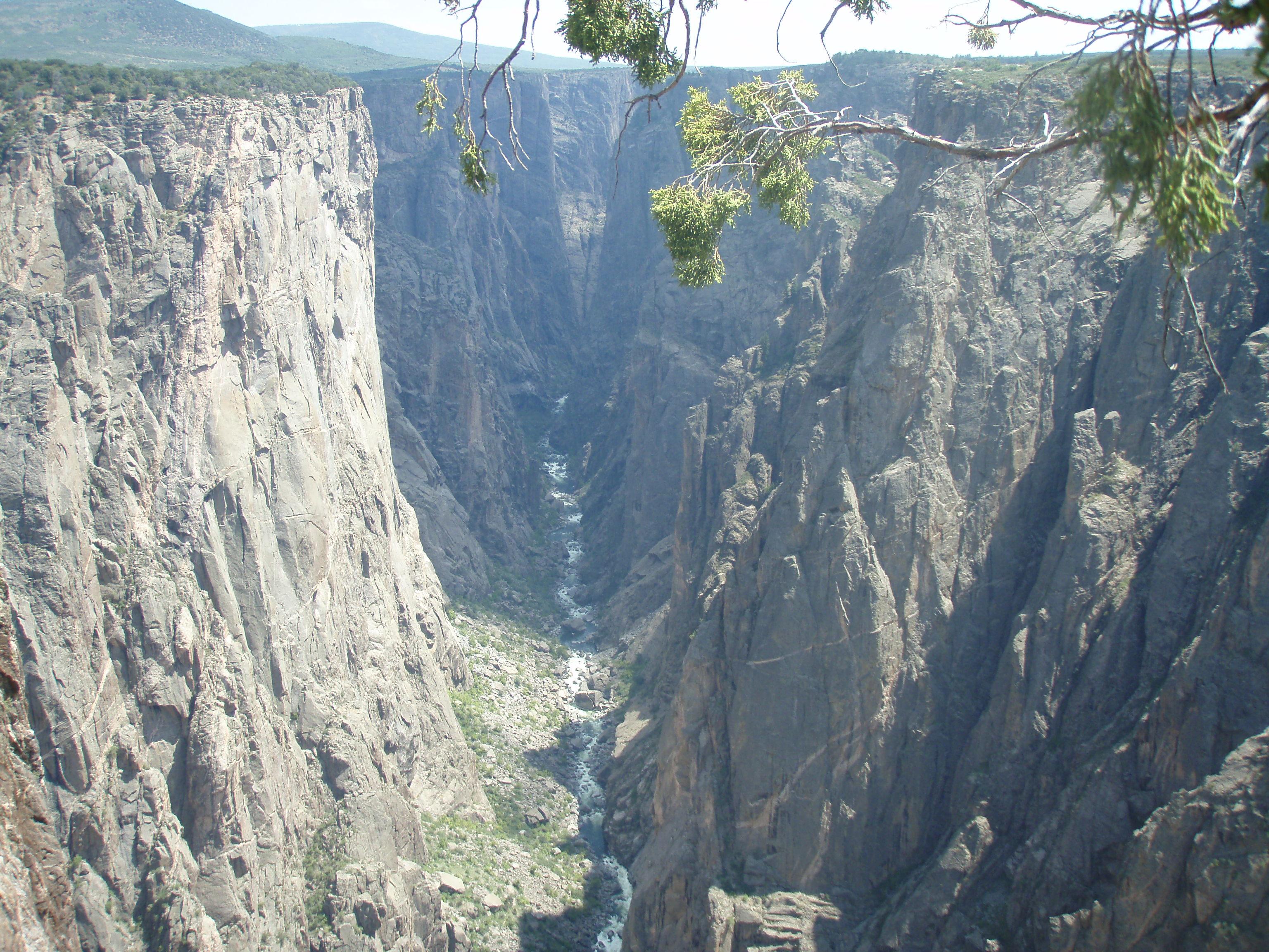 Water runs through the deep canyon